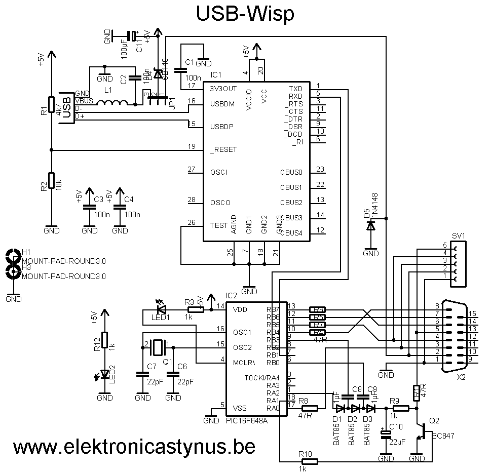 usb male bedradings schema