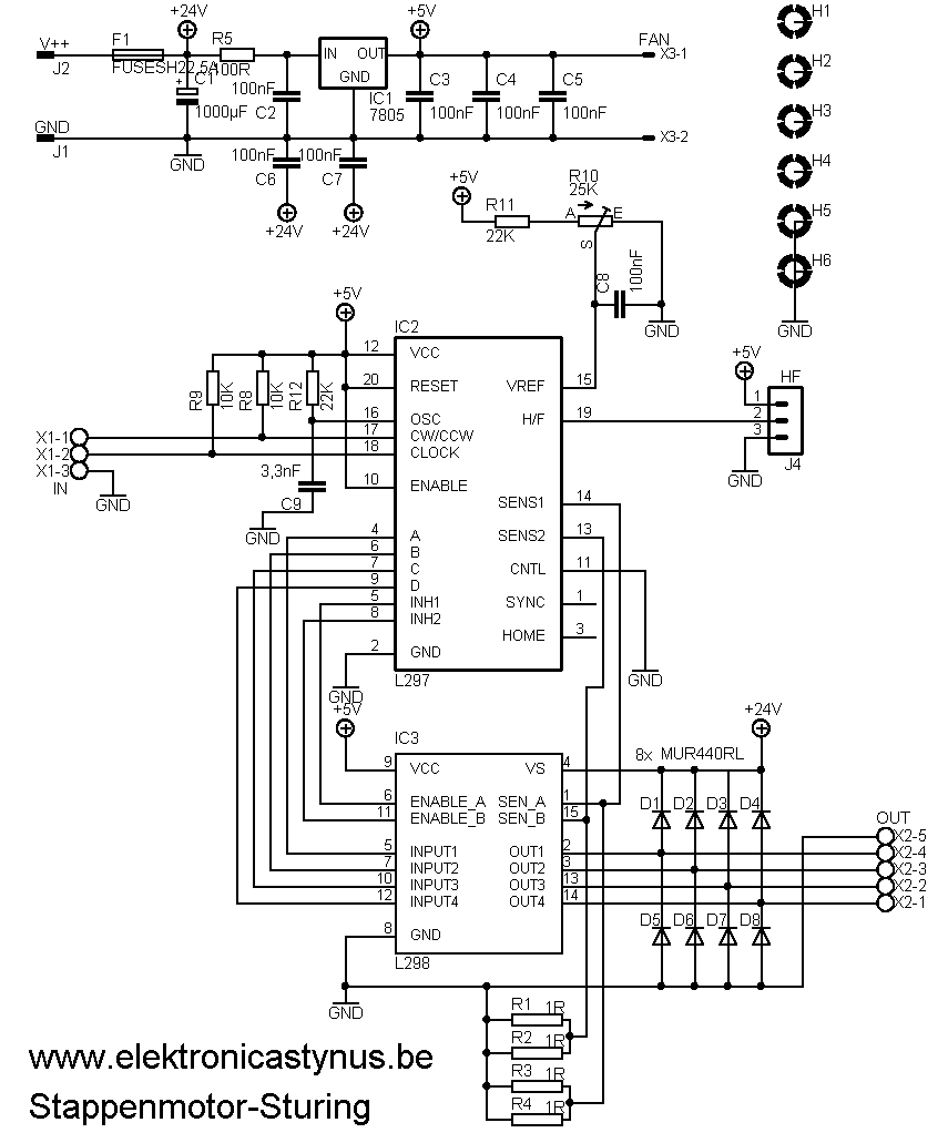 Schema Stappenmotor sturing cnc L297 L298